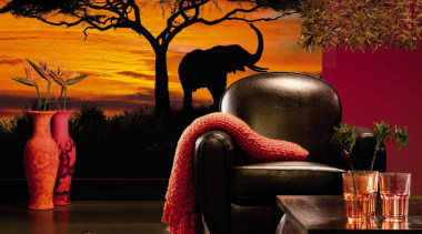 African Sunset Interieur interior design, lighting, wall, black, brown