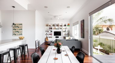 Dalecki Design dining room, house, interior design, living room, table, white