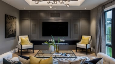 New Albany Show Home ceiling, home, interior design, living room, room, wall, gray, black