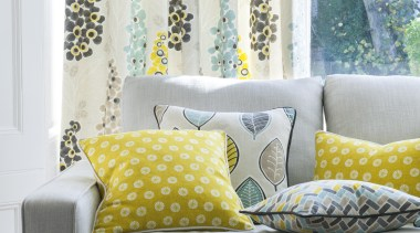Harrisons Curtains couch, curtain, cushion, duvet cover, furniture, home, interior design, linens, living room, pattern, room, textile, wall, window, window covering, window treatment, yellow, white, gray