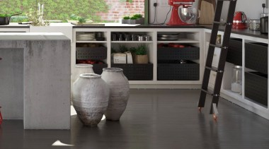 Tanova Ventilated Drawers in Kitchen Setting - Custom floor, flooring, furniture, tile, gray, black