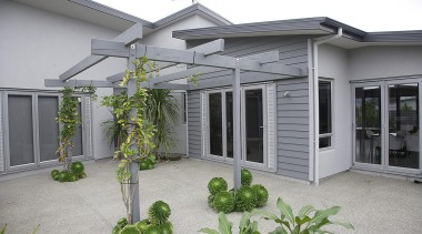 For more information, please visit www.gjgardner.co.nz backyard, courtyard, facade, home, house, outdoor structure, real estate, window, yard, gray