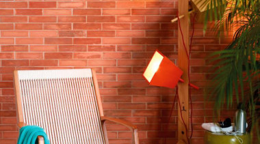 Wood look porcelain tiles Teca Intensa  used chair, floor, furniture, interior design, outdoor furniture, product design, table, wall, wood, red, orange