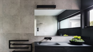 Finalist: 2017 TIDA International Bathroom of the YearSee architecture, countertop, floor, interior design, kitchen, product design, sink, wall, gray, black