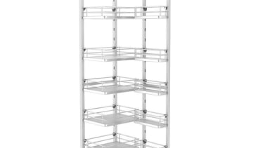 Giamo Tall Chef Larder with Solid Base Shelves furniture, product, shelf, shelving, structure, white