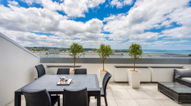 Deck with seaview apartment, home, penthouse apartment, property, real estate, roof, sky, white, gray