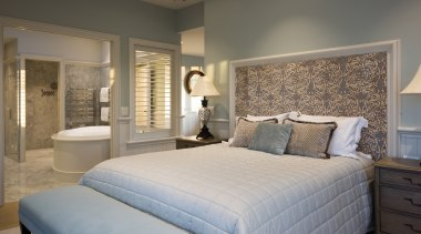 Master bedroom bed, bed frame, bed sheet, bedroom, ceiling, estate, floor, home, interior design, mattress, real estate, room, suite, wall, window, gray