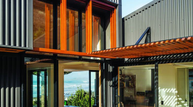 Makarori Beach House - V-Rib - Slate - architecture, facade, home, house, property, real estate, siding, window, wood