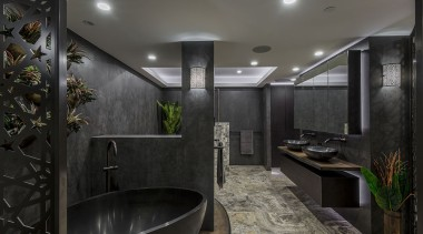 Finalist: 2017 TIDA International Bathroom of the YearSee architecture, ceiling, house, interior design, black, gray