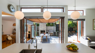 Generous bi-fold doors open out to an outdoor interior design, real estate, gray