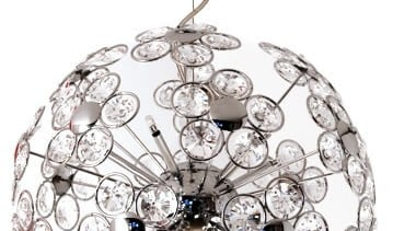 FeaturesA striking design styled with clusters of high body jewelry, ceiling fixture, chandelier, light fixture, lighting, white