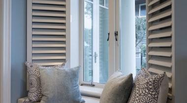 Window seat curtain, door, floor, furniture, home, interior design, living room, sash window, shade, window, window blind, window covering, window treatment, wood, gray