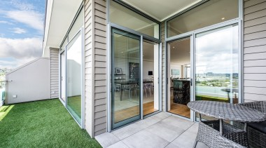 Balcony with view to Rangitoto architecture, daylighting, door, estate, facade, home, house, interior design, property, real estate, window, white