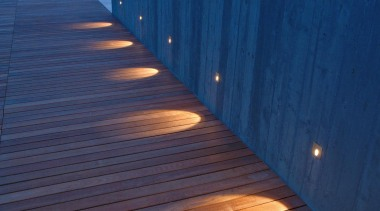 Exterior and Outdoor Lights architecture, blue, boardwalk, daylighting, evening, floor, light, lighting, line, morning, outdoor structure, reflection, roof, shadow, sky, sunlight, walkway, water, wood, wood stain, blue, black