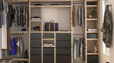 Tanova Ventilated Drawers in Wardrobe Setting - Custom closet, furniture, room, wardrobe, gray, black