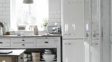 White out with this Smeg fab white fridge/freezer**Please ceiling, countertop, cuisine classique, floor, flooring, home, interior design, kitchen, room, tile, gray