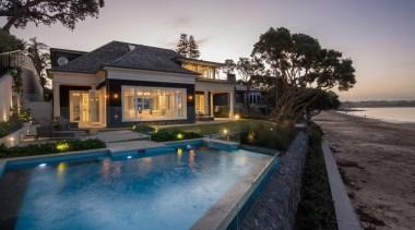 Exterior estate, home, house, lighting, mansion, property, real estate, reflection, resort, swimming pool, villa, gray, black