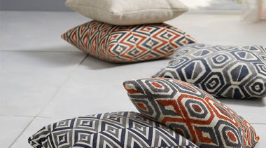 Relaxed and contemporary, Ortega is a decorative collection cushion, furniture, pillow, gray