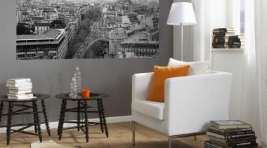 Cite de Paris Interieur chair, floor, flooring, furniture, interior design, living room, room, table, wall, gray, white