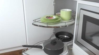 Giamo's Duplo provides a unique way of utilising countertop, floor, furniture, home appliance, kitchen, kitchen appliance, kitchen stove, product, shelf, small appliance, table, gray, white