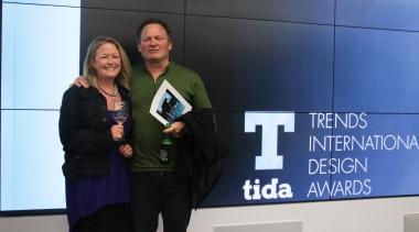 Alice Keen and Graham Phipps-Black from Active Design award, communication, entrepreneur, public relations, technology, blue, black