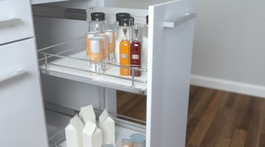 Giamo's Side Mounted Pull Out unit comes in drawer, furniture, product, refrigerator, shelf, shelving, gray