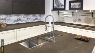 Neolith Pulpis 2 countertop, cuisine classique, floor, flooring, interior design, kitchen, product design, tile, brown, gray