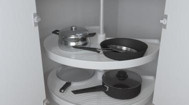 Plastic fantastic!Giamo's 270° Revolving Corner Unit, with two drawer, furniture, kitchen, product, shelf, shelving, table, gray