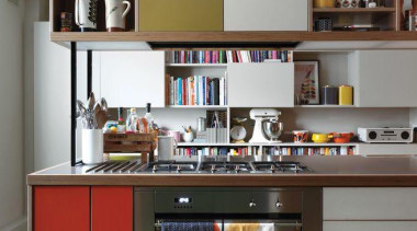 A fun retro kitchen with built in oven cabinetry, countertop, cuisine classique, furniture, interior design, kitchen, shelf, shelving, white, gray