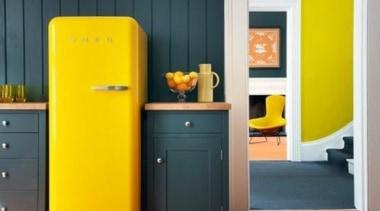 Smeg Fab fridge in lemon yellow brings more door, furniture, interior design, orange, product, shelf, yellow