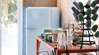 Smeg fab fridge **Please note not all Fab chair, dining room, furniture, home, interior design, living room, room, table, wall, yellow, white