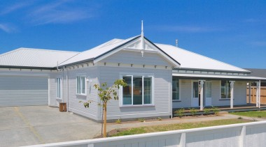 Envira weatherboard home in Renwick Blenheim. cottage, elevation, estate, facade, home, house, property, real estate, residential area, roof, gray, blue