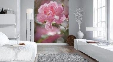 Bouquet Interieur bed, bed frame, bed sheet, bedroom, floor, flower, furniture, home, interior design, living room, petal, room, textile, wall, white, gray