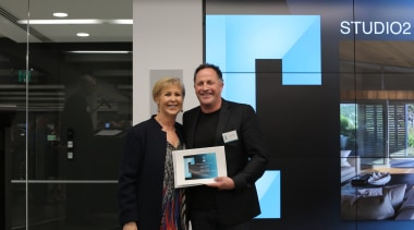 Judy Johnson with Paul Clarke from Studio2 Architects business, communication, electronic device, public relations, technology, black