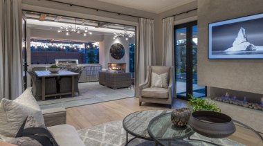 New Albany Show Home interior design, living room, property, room, gray