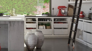 Tanova Ventilated Drawers in Kitchen Setting - Classic furniture, home appliance, kitchen, major appliance, gray