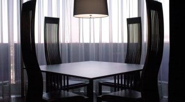 Pendant Light ceiling, chair, dining room, furniture, interior design, room, table, window, black