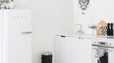 You may not see the white Smeg fridge black and white, furniture, home appliance, interior design, product, product design, table, tap, white, white