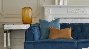 Plush, a sumptuous velvet-look polyester brings together old chair, coffee table, couch, floor, furniture, home, interior design, living room, loveseat, room, sofa bed, studio couch, table, gray