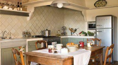 Brick barrel vaulted ceiling and Smeg silver fridge/freezer!**Please ceiling, countertop, cuisine classique, dining room, floor, flooring, interior design, kitchen, room, table, brown, orange