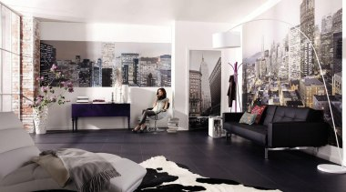 Skylines Alle Interieur couch, floor, flooring, furniture, interior design, living room, room, wall, white, black