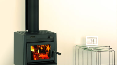 Metro Fires Tiny Ped 11kW Wood Fire hearth, heat, home appliance, product, wood burning stove, yellow, white, black