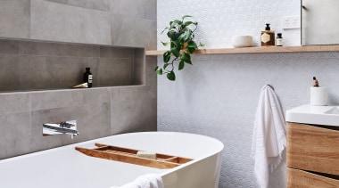 See more from Deborah Schmideg Interior Design bathroom, ceramic, countertop, floor, home, interior design, room, sink, tap, tile, white, gray