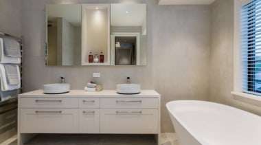 New Albany Show Home bathroom, bathroom accessory, bathroom cabinet, floor, home, interior design, room, sink, gray
