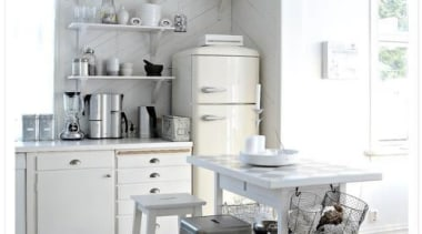 This cream Smeg fridge add just hint of chair, cuisine classique, floor, furniture, home, interior design, kitchen, product design, room, table, white