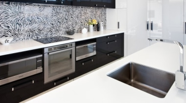 A bold two tone statement - featured in countertop, interior design, kitchen, sink, white