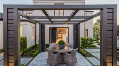 New Albany Show Home backyard, home, interior design, outdoor structure, real estate, roof, gray, black