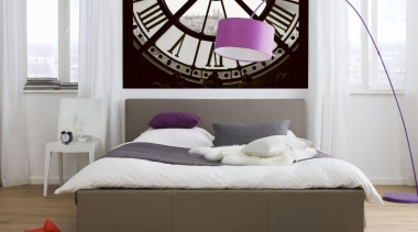 Moments Interieur bed, bed frame, bed sheet, bedroom, furniture, interior design, mattress, product, purple, wall, white