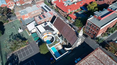 The church from above aerial photography, bird's eye view, building, city, house, mixed use, neighbourhood, photography, real estate, residential area, roof, suburb, urban area, urban design, water, gray