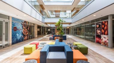 The atrium architecture, interior design, lobby, real estate, gray